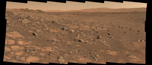 """A light-colored """"paver stone"""" like the ones seen in this mosaic will be the likely target for first sampling by the Perseverance rover."""