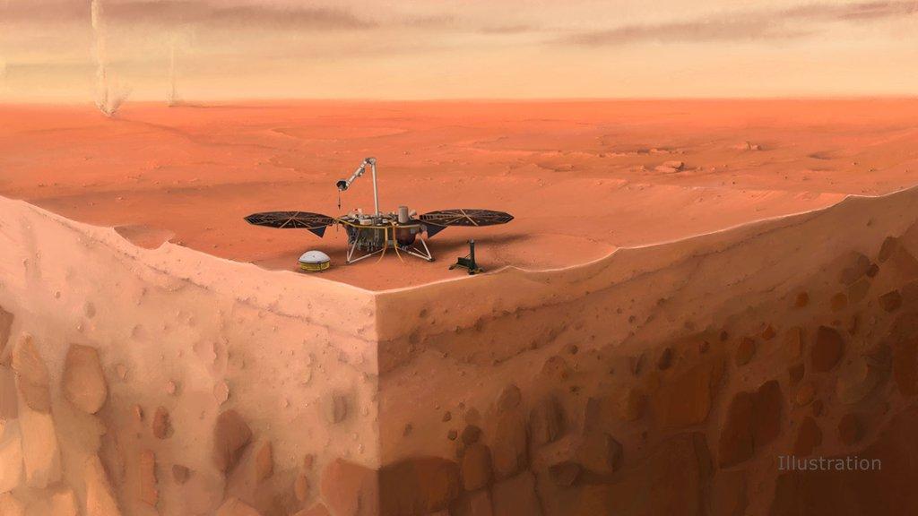 artist's concept of NASA's InSight lander on Mars