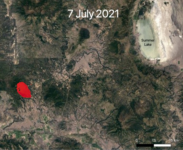 NASA's ECOSTRESS instrument captured ground-surface temperature data over southern Oregon's Bootleg Fire from July 7 to July 22. Areas in red – the hottest pixels detected – show the fire front, where resources are needed most.