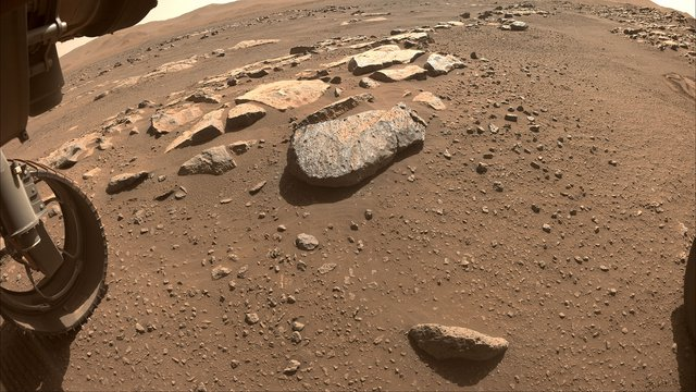 NASA's Perseverance Mars rover will abrade the rock at the center of this image.