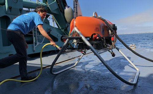 The Orpheus submersible robot is being developed by Woods Hole Oceanographic Institute and JPL to explore the deep ocean autonomously.