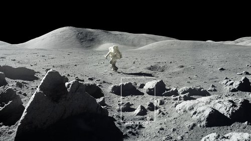 """The Moon is covered with craters and rocks, creating a surface """"roughness"""" that casts shadows, as seen in this photograph from the 1972 Apollo 17 mission."""