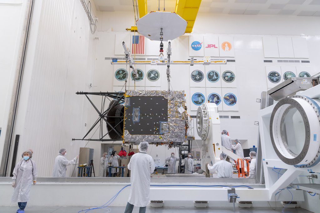 Taken on March 28, 2021, this photo shows the Solar Electric Propulsion (SEP) Chassis just after it was delivered to JPL by Maxar Technologies.