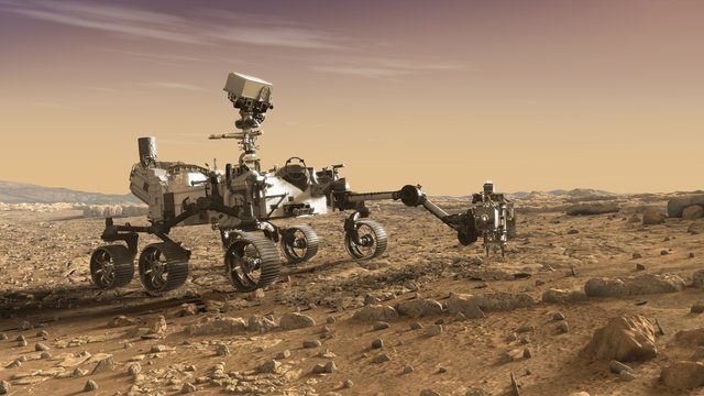 This illustration depicts NASA's Mars 2020 rover studying rocks with its robotic arm.
