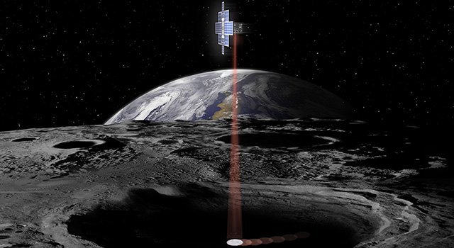 Artist's concept showing the Lunar Flashlight spacecraft searching for ice on the Moon's surface using special lasers