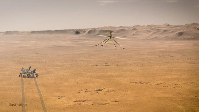 In this illustration, NASA's Ingenuity Mars Helicopter flies above the surface of the Red Planet with the agency's Perseverance rover close by.