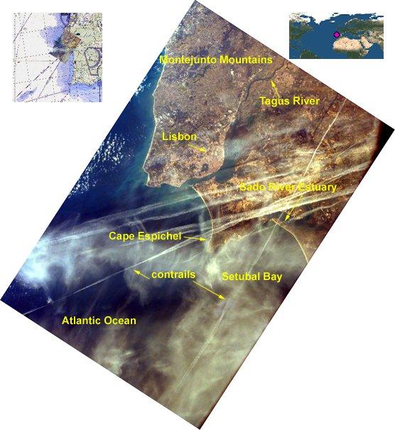 Contrails over Lisbon, Portugal