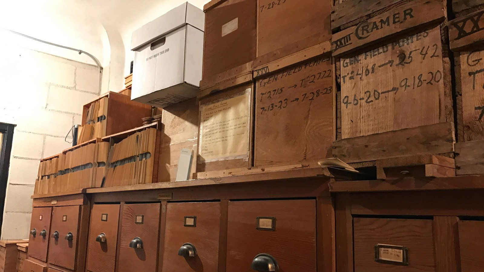 A storeroom at Carnegie Observatories in Pasadena, California, holding archives from the Mount Wilson telescopes and other astronomical records.