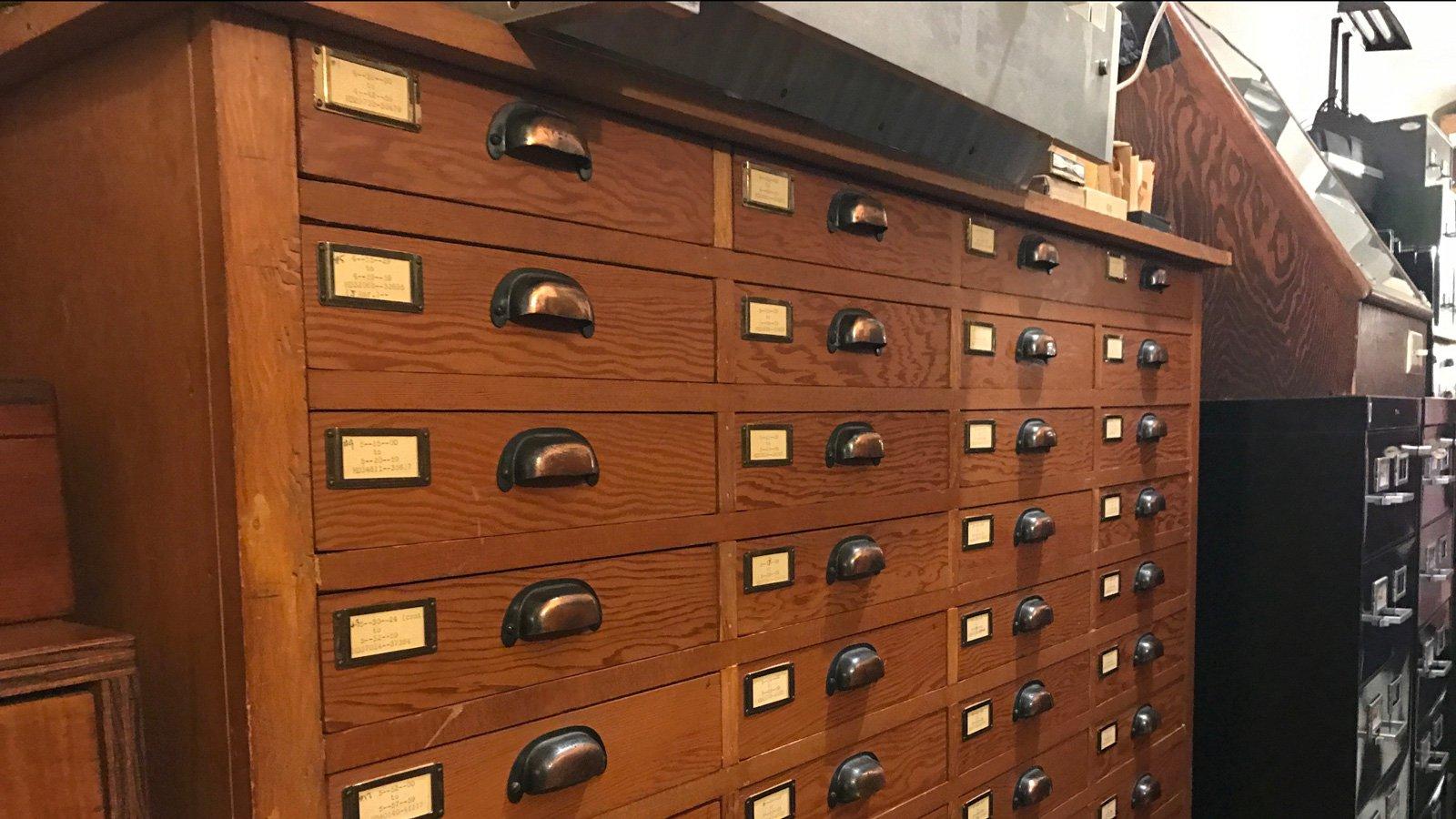 Drawers hosting records at Carnegie Observatories. Credit: NASA/JPL-Caltech