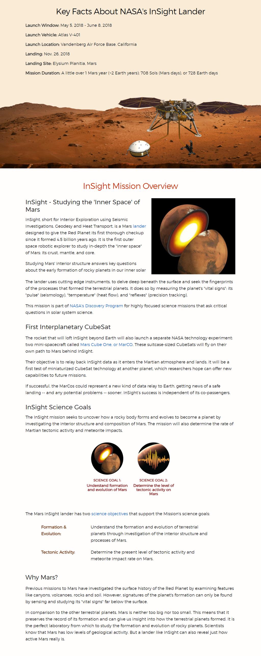 Mars InSight: Key Facts