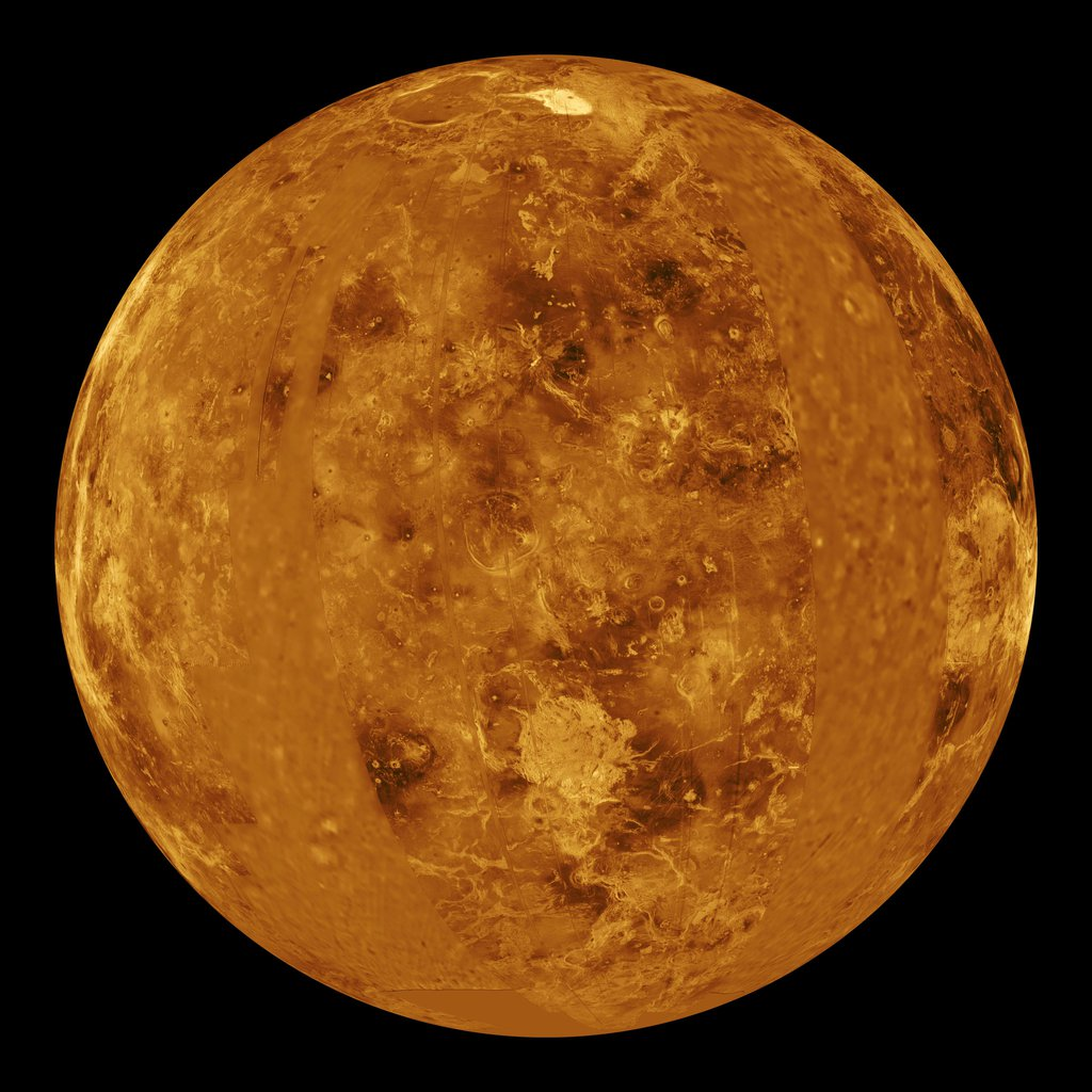 This global view of the surface of Venus is centered at 0 degrees east longitude. NASA's Magellan synthetic aperture radar mosaics from the first cycle of Magellan mapping were mapped onto a computer-simulated globe to create this image.