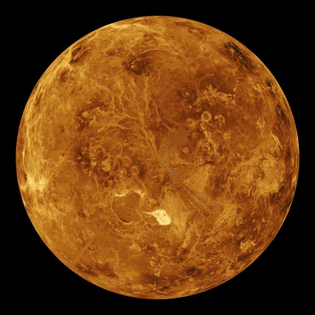 The northern hemisphere is displayed in this global view of the surface of Venus as seen by NASA's Magellan spacecraft.