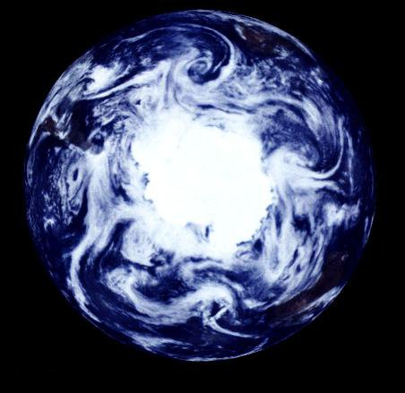 This view of the Earth shows a wonderfully unique but physically impossible view of the southern hemisphere and Antarctica. While a spacecraft could find itself directly over the Earth's pole, roughly half of the image should be in darkness!