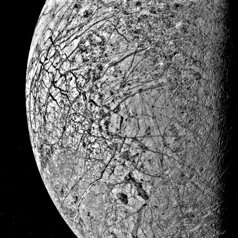 This image of Europa, smallest of Jupiter's four Galilean satellites, was acquired by NASA's Voyager 2 on July 9, 1979, from a (150,600 miles). Europa has a density slightly less than Io.