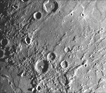 This image, from NASA's Mariner 10 spacecraft which launched in 1974, is of the northeastern quadrant of the Caloris basin showig the smooth hills and domes between the inner and outer scarps and the well-developed radial system east of the outer scarp.