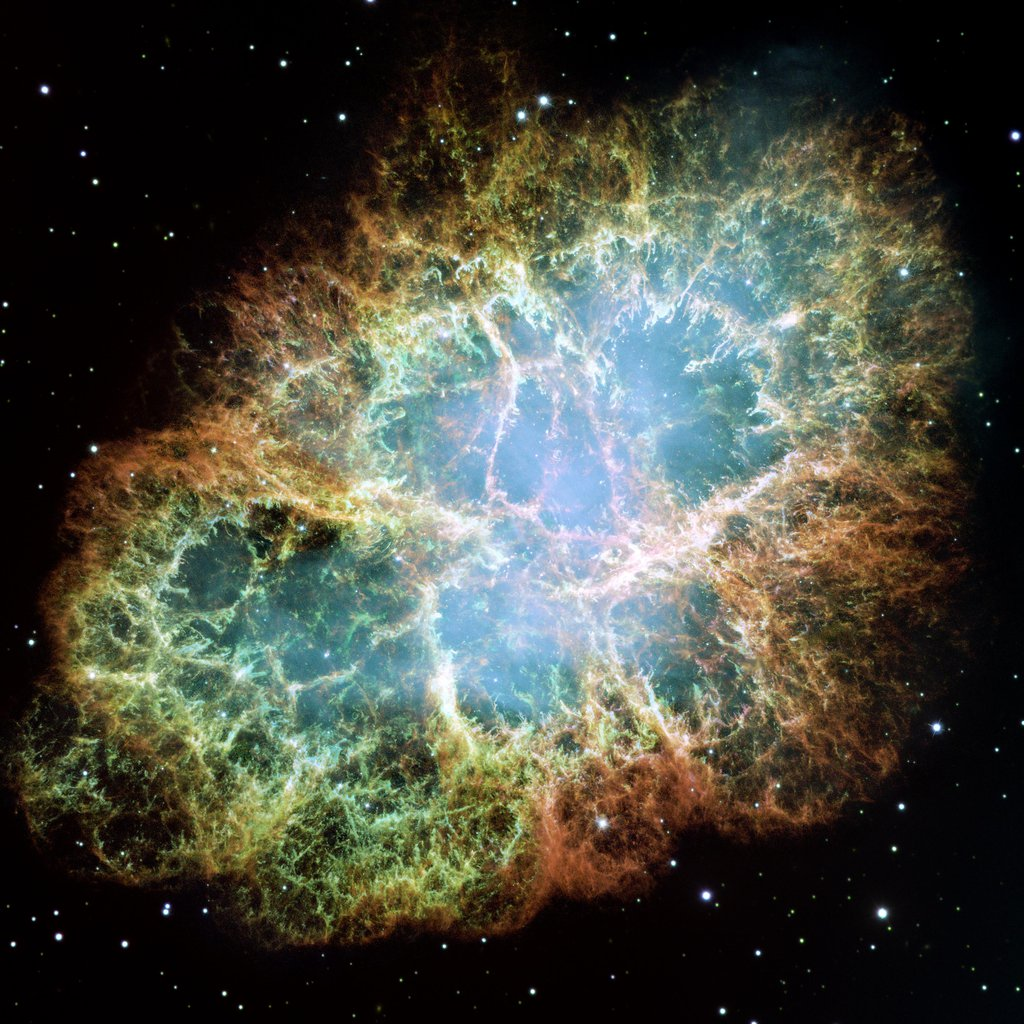 The Crab Nebula is one of the most intricately structured and highly dynamical objects ever observed. The new Hubble image of the Crab was assembled from 24 individual exposures taken with the NASA/ESA Hubble Space Telescope.