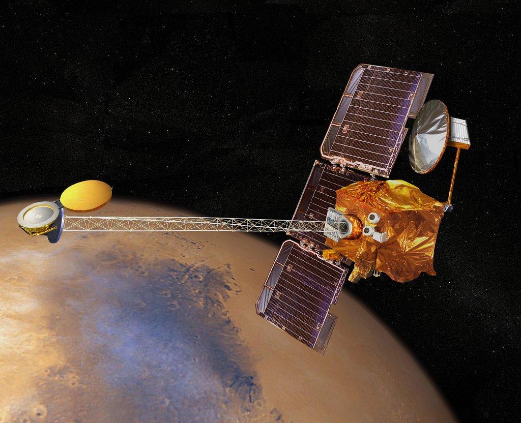 Artist's concept of 2001 Mars Odyssey spacecraft.
