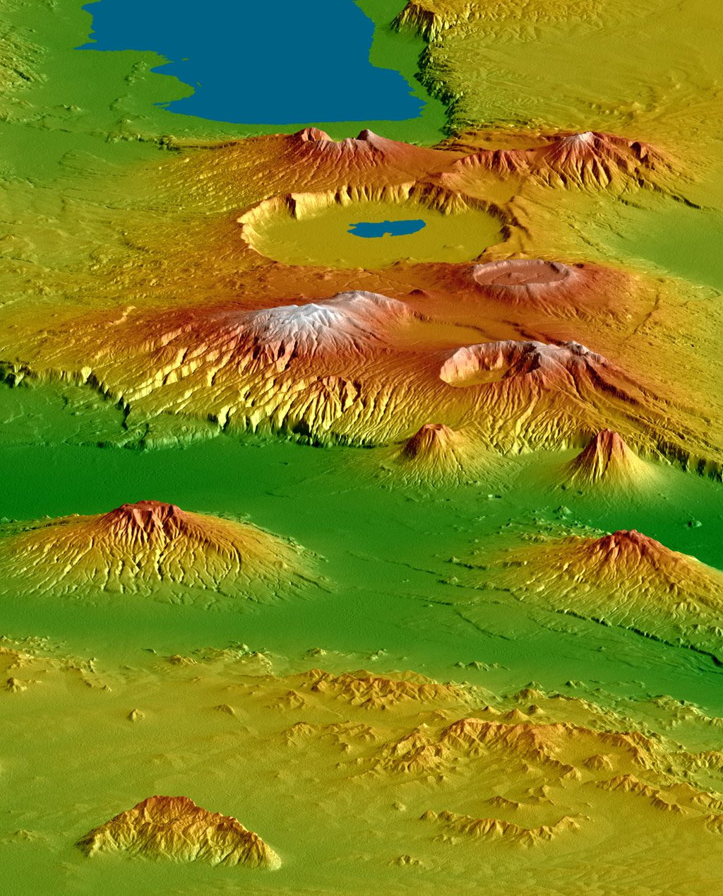 NASA's Shuttle Radar Topography Mission shows the Crater Highlands of Tanzania rising far above the adjacent savannas.