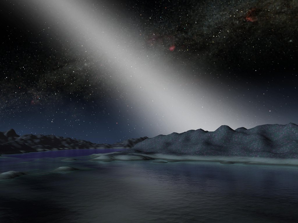 This artist's concept shows what the night sky might look like from a hypothetical alien planet in a star system with an asteroid belt 25 times as massive as the one in our own solar system.