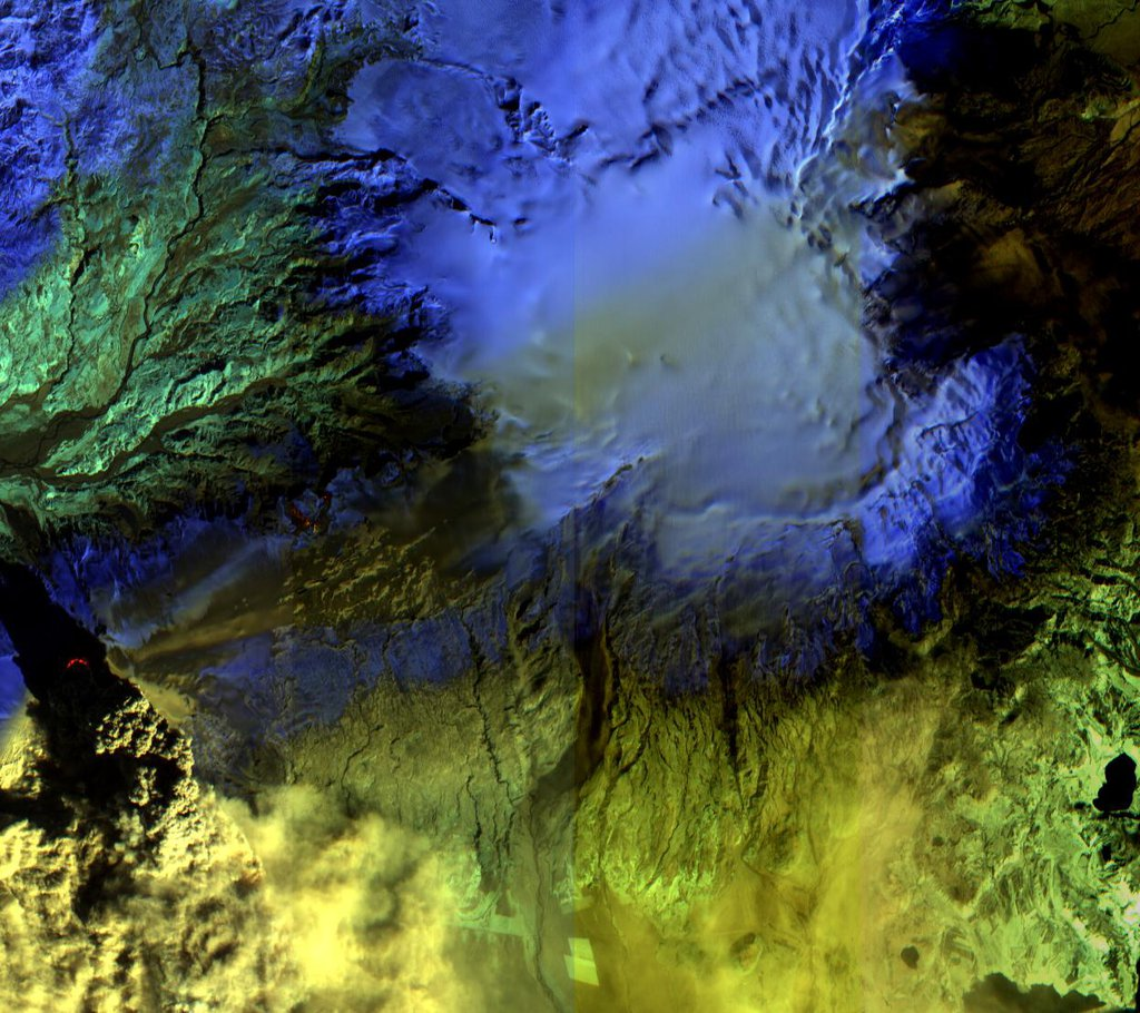 The Advanced Land Imager onboard NASA's Earth Observing-1 (EO-1) spacecraft obtained this false-color infrared image of Iceland's Eyjafjallajökull volcano on April 17, 2010. A strong thermal source is visible at the base of the Eyjafjallajökull plume.