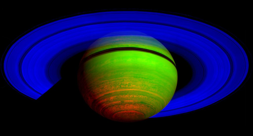 This false-color composite image, constructed from data obtained by NASA's Cassini spacecraft, shows Saturn's rings and southern hemisphere.