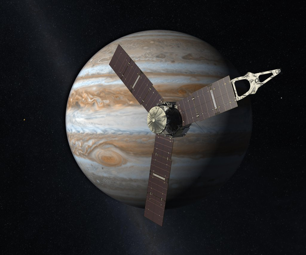 This artist concept depicts the Juno spacecraft which will launch from Earth in 2011 and will arrive at Jupiter in 2016 to study the giant planet from an elliptical, polar orbit.
