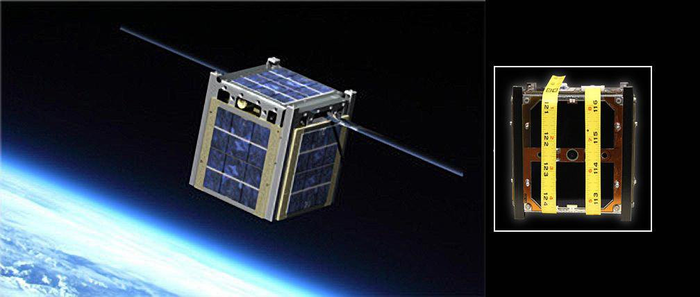 The image on the left is an artist rendering of Montana State University's Explorer 1 CubeSat; at right is a CubeSat created by the University of Michigan designated the Michigan Mulitpurpose Mini-satellite, or M-Cubed.
