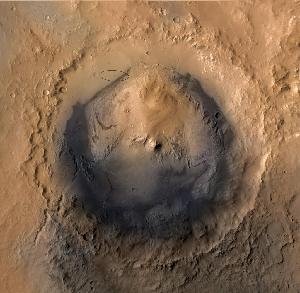 As of June 2012, the target landing area for NASA's Mars Science Laboratory mission is the ellipse marked on this image of Gale Crater. The ellipse is about 12 miles long and 4 miles wide (20 kilometers by 7 kilometers).