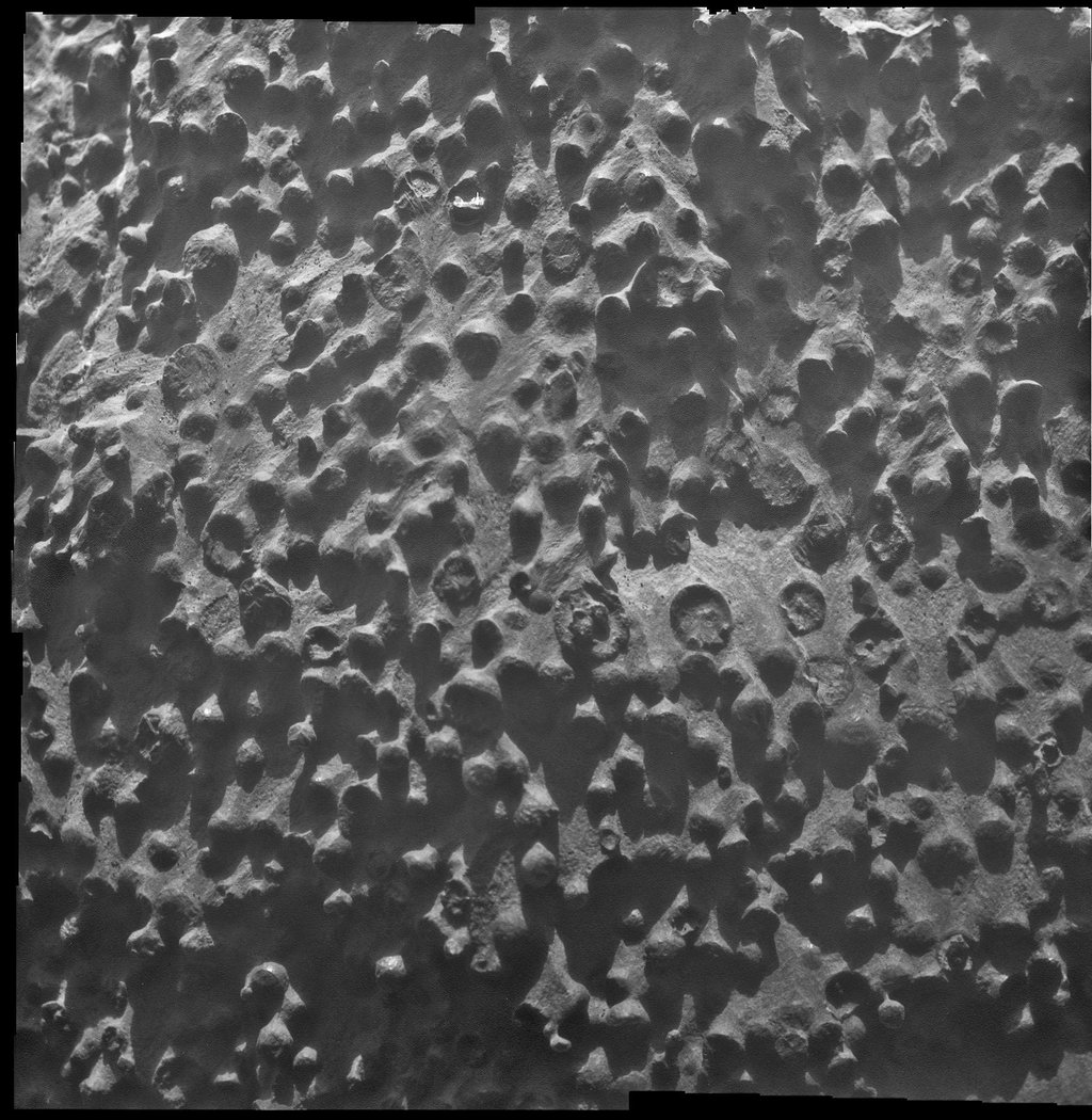 Small spherical objects fill the field in this mosaic combining four images from the Microscopic Imager on NASA's Mars Exploration Rover Opportunity at an outcrop called 'Kirkwood' in the Cape York segment of the western rim of Endeavour Crater.