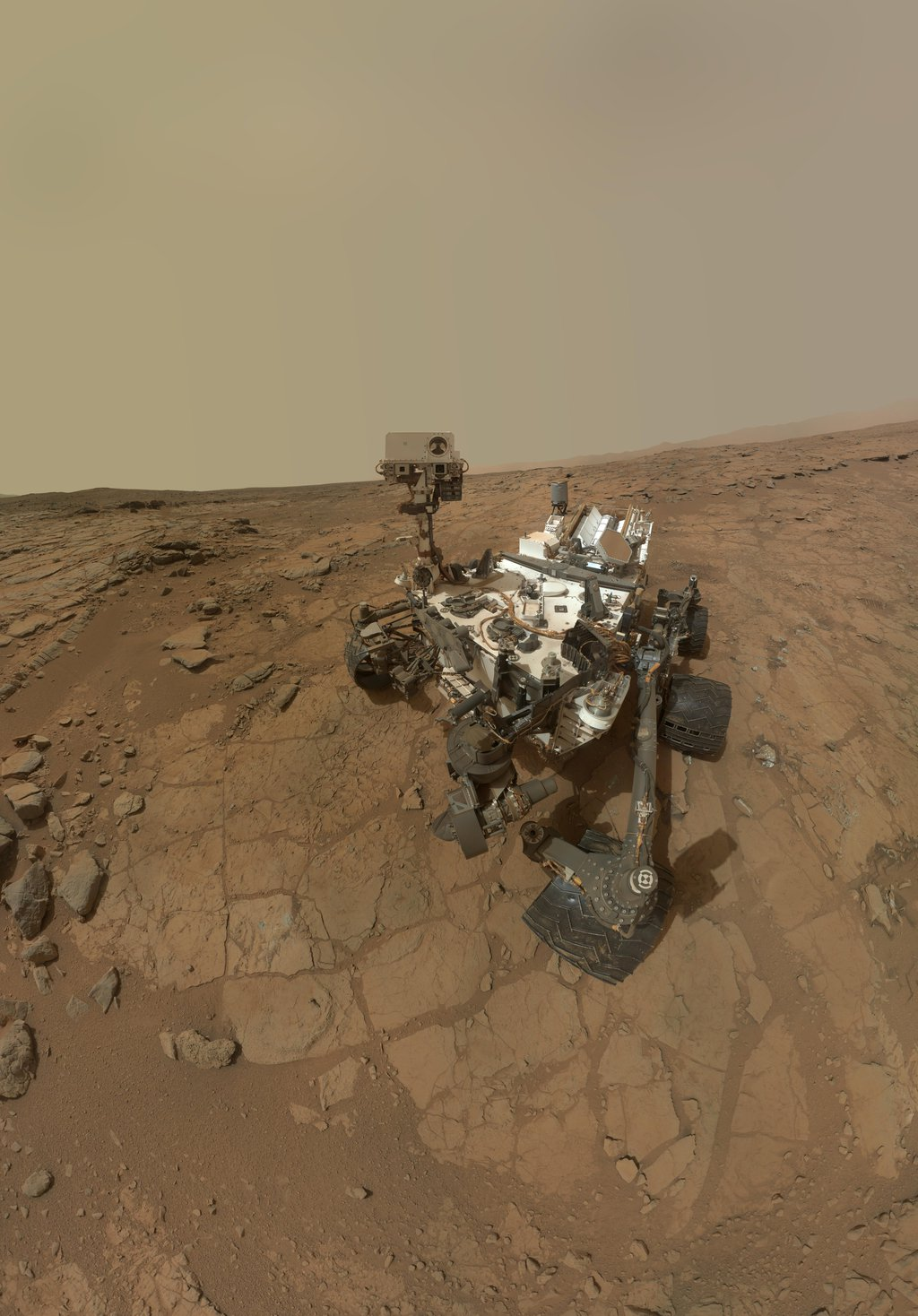 This rectangular version of a self-portrait of NASA's Mars rover Curiosity combines dozens of exposures taken by the rover's Mars Hand Lens Imager (MAHLI) during the 177th Martian day, or sol, of Curiosity's work on Mars (Feb. 3, 2013).