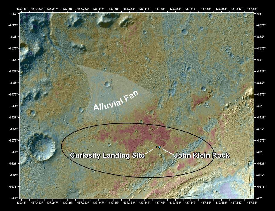 This false-color map shows the area within Gale Crater on Mars, where NASA's Curiosity rover landed on Aug. 5, 2012 PDT (Aug. 6, 2012 EDT) and the location where Curiosity collected its first drilled sample at the 'John Klein' rock.