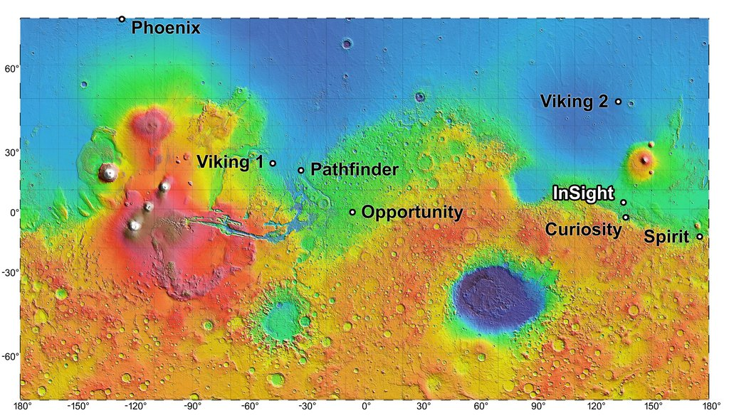 This topographic map shows four semifinalist sites located close together in the Elysium Planitia region of Mars; the mission InSight will study the Red Planet's interior to advance understanding of the processes that formed and shaped the rocky planets.