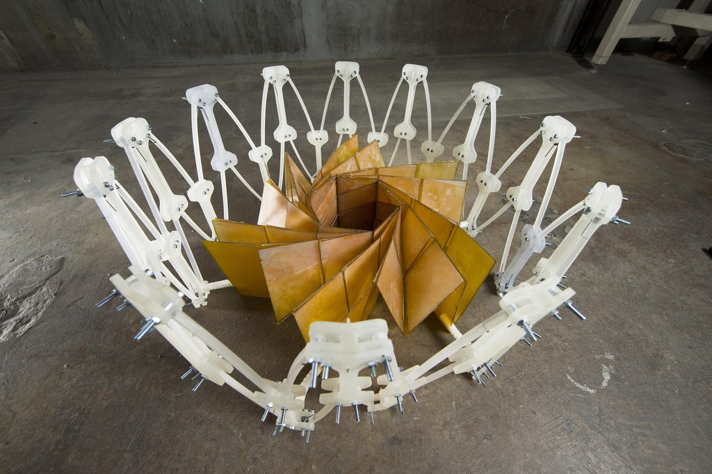 Researchers at NASA's Jet Propulsion Laboratory, Pasadena, California, and Brigham Young University, Provo, Utah, collaborated to construct a prototype of a solar panel array that folds up in the style of origami, to make for easier deployment.