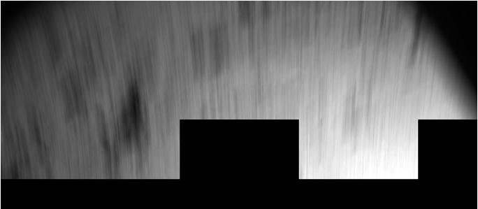 The Philae lander of the European Space Agency's Rosetta mission captured this view during its first bounce after hitting the surface of comet 67P/Churyumov-Gerasimenko on Nov. 12, 2014, with blurring as a result of the lander's own motion. The image from
