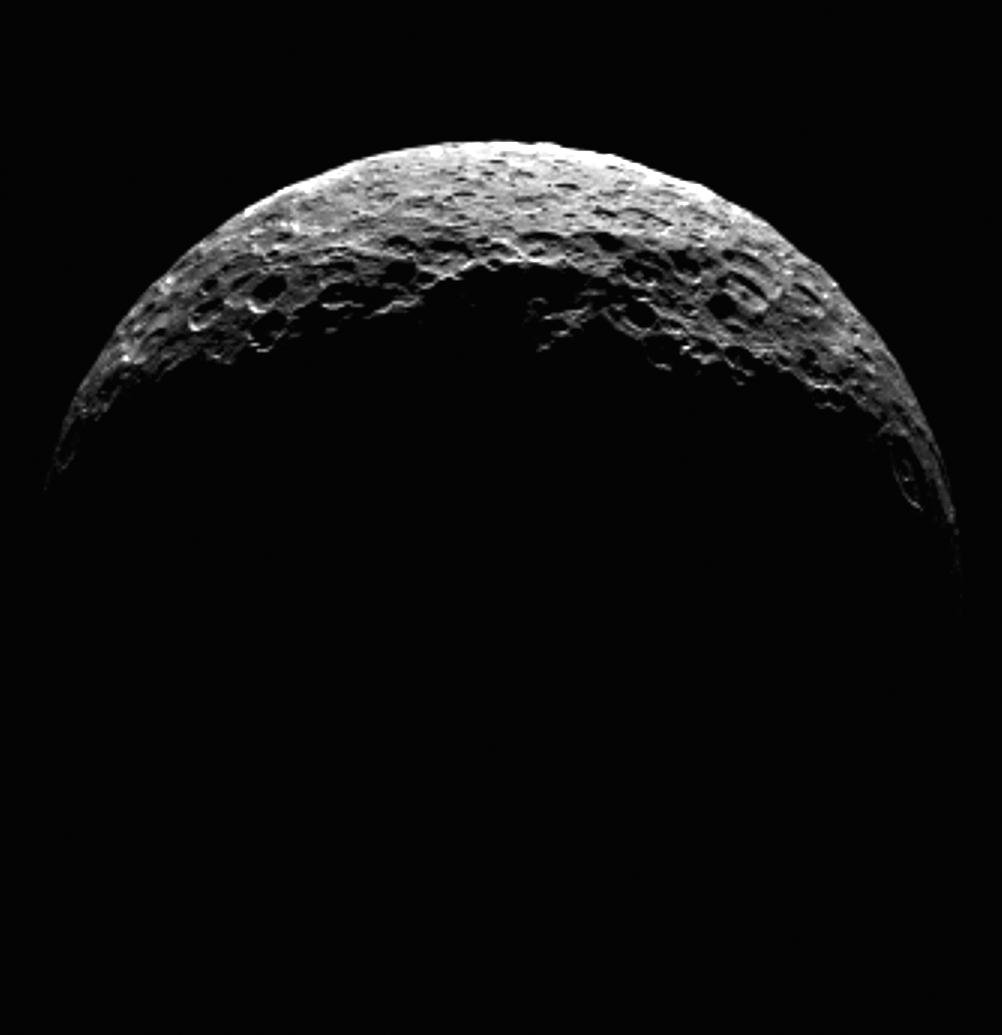 This frame from an animation shows the north pole of dwarf planet Ceres as seen by the Dawn spacecraft on April 10, 2015. Dawn was at a distance of 21,000 miles (33,000 kilometers) when its framing camera took these images.