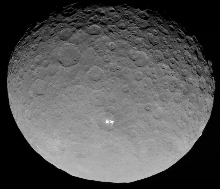 In this closest-yet view of Ceres, the brightest spots within a crater in the northern hemisphere are revealed to be composed of many smaller spots. This frame is from an animation of sequences taken by NASA's Dawn spacecraft on May 4, 2015.