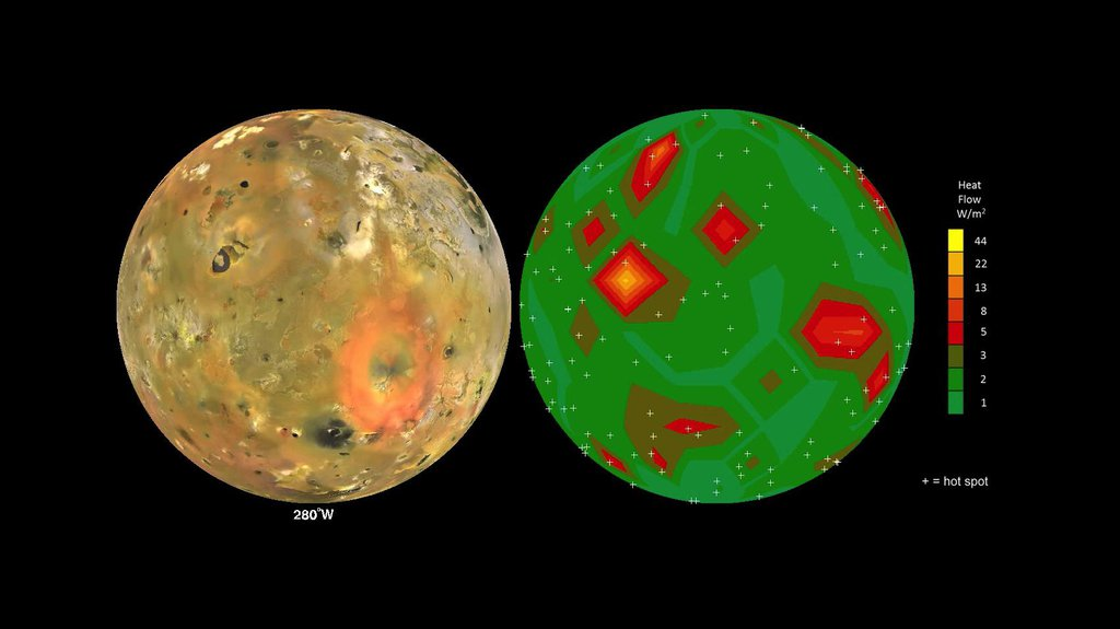 This frame from an animation shows Jupiter's volcanic moon Io as seen by NASA's Voyager and Galileo spacecraft (at left) and the pattern of heat flow from 242 active volcanoes (at right).