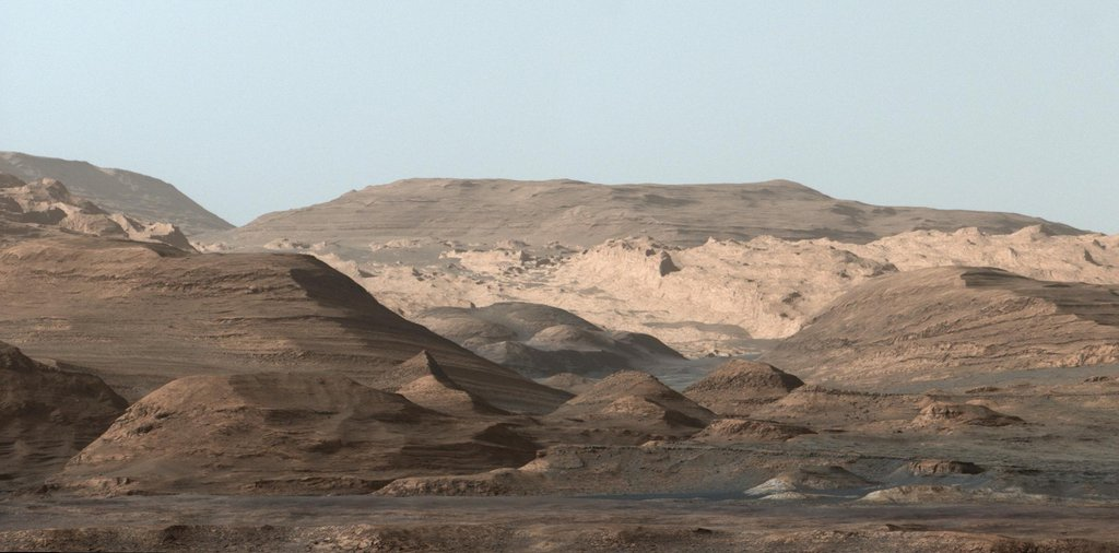 This composite image looking toward the higher regions of Mount Sharp was taken in mid-September, 2015, by NASA's Curiosity rover.