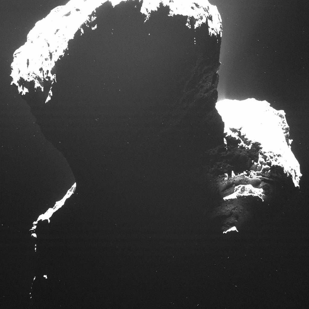 Image of the southern polar regions of comet 67P/Churyumov-Gerasimenko taken by Rosetta's Optical, Spectroscopic, and Infrared Remote Imaging System (OSIRIS) on September 29, 2014, when the comet was still experiencing the long southern winter.