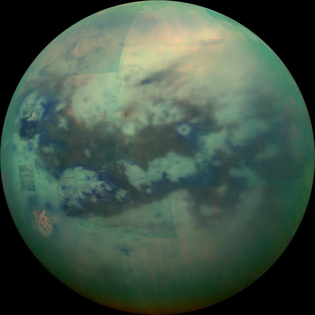 This view from NASA's Cassini spacecraft, acquired during the mission's 'T-114' flyby on Nov. 13, 2015, looks toward terrain that is mostly on the Saturn-facing hemisphere of Titan.