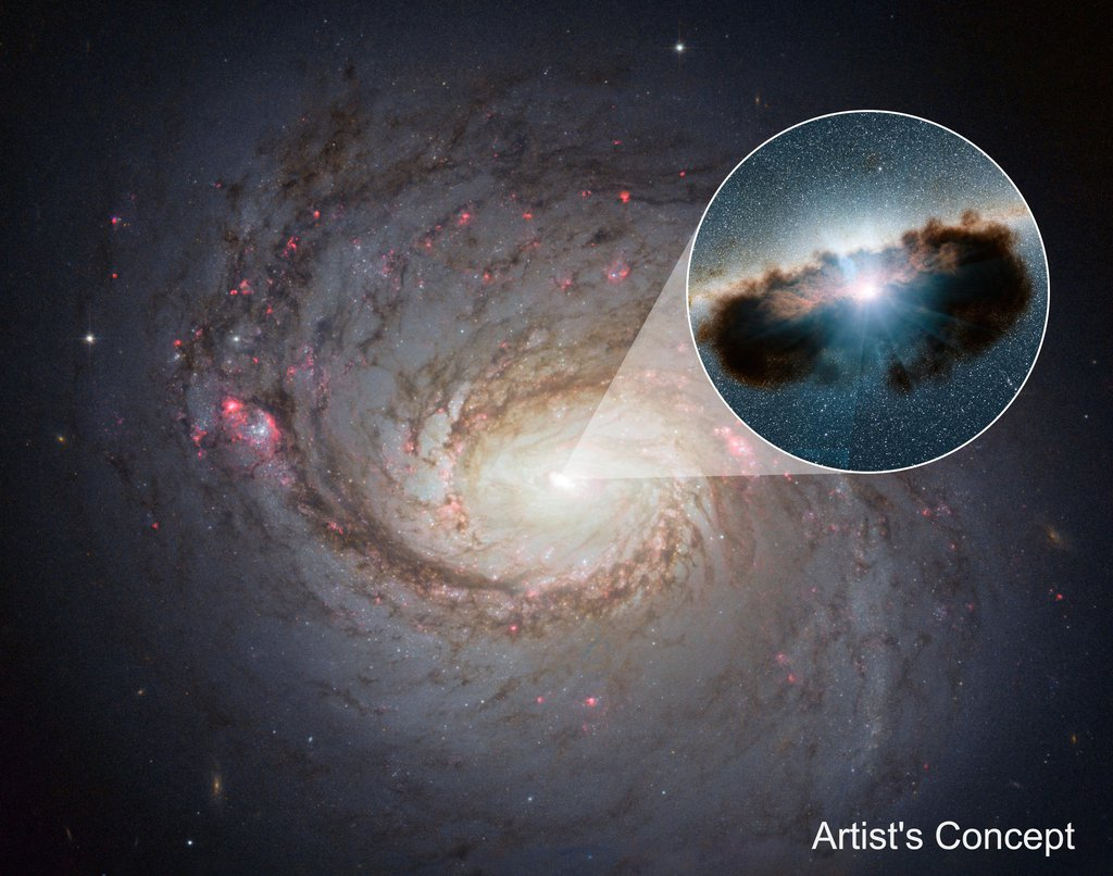 Galaxy NGC 1068 can be seen in close-up in this view from NASA's Hubble Space Telescope. NuSTAR data revealed that the torus of gas and dust surrounding the black hole, also referred to as a doughnut, is more clumpy than previously thought.