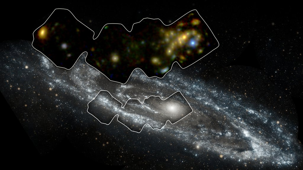These images from NASA's GALEX and NuSTAR is of Andromeda, a spiral galaxy like our Milky Way but larger in size. It lies 2.5 million light-years away in the Andromeda constellation.