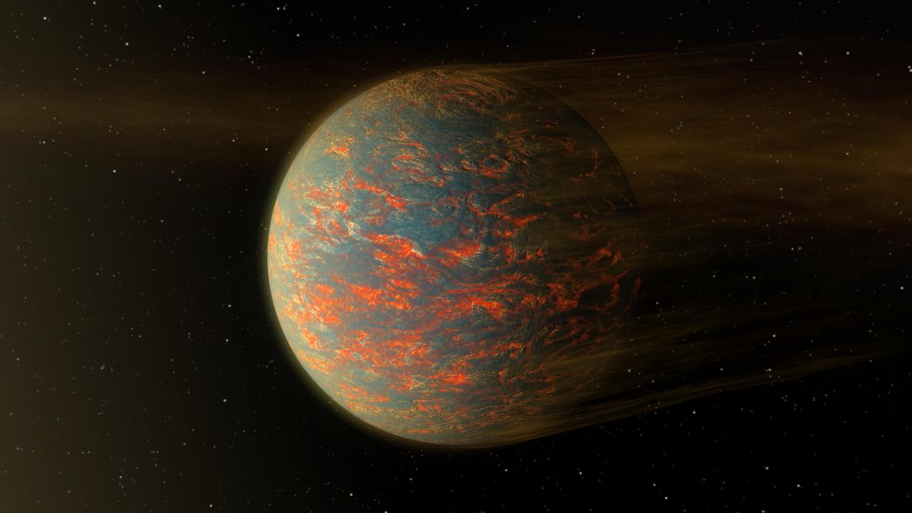 This illustration shows one possible scenario for the hot, rocky exoplanet called 55 Cancri e, which is nearly two times as wide as Earth. New data from NASA's Spitzer Space Telescope show that the planet has extreme temperature swings.