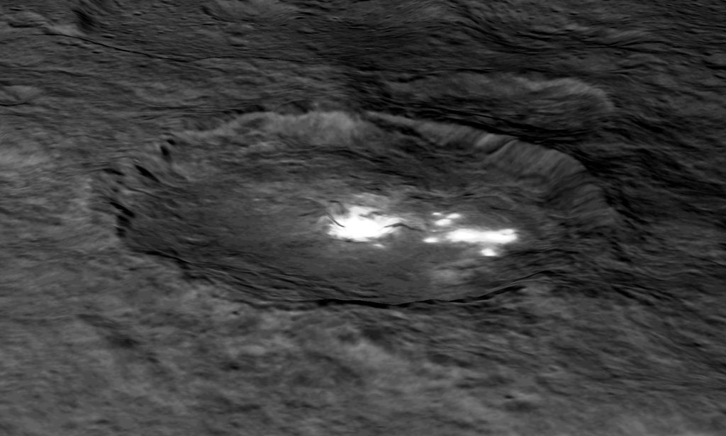 This image from NASA's Dawn spacecraft shows Occator Crater draped over a digital terrain model provides a 3-D-like perspective view of the impact structure.