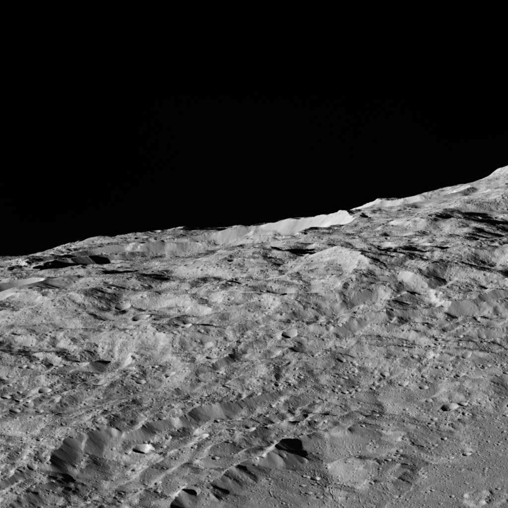 These views of Ceres, taken by NASA's Dawn spacecraft on December 10, show an area in the southern part of the southern hemisphere of the dwarf planet.