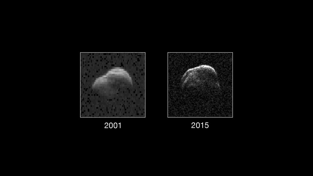 Asteroid 1998 WT24 (left in December 2001, right on December 11, 2015) taken by NASA's the 230-foot (70-meter) DSS-14 antenna at Goldstone, California.