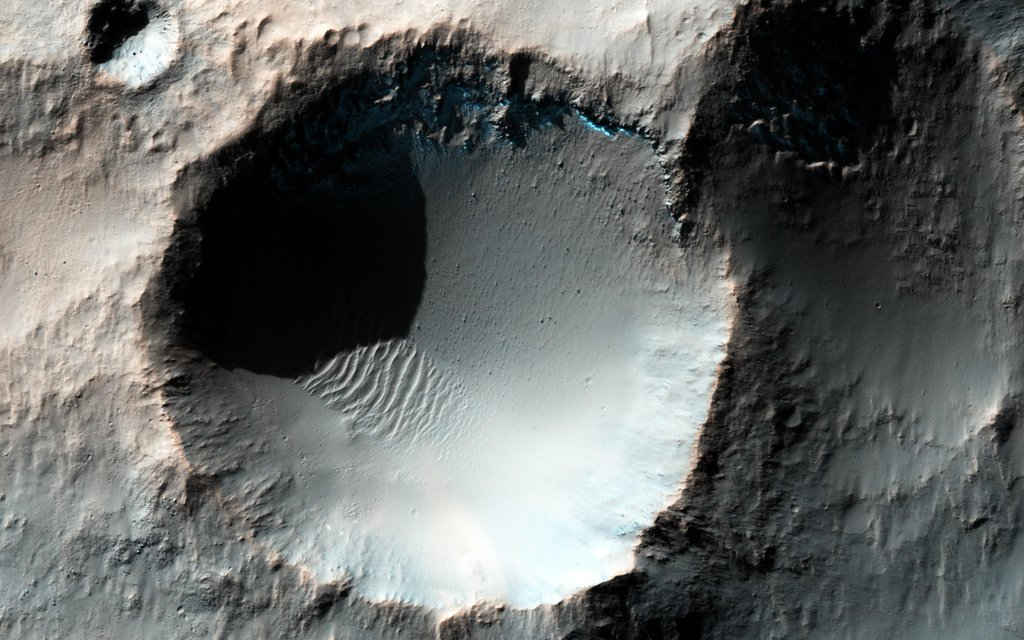 This enhanced color image from NASA's Mars Reconnaissance Orbiter spacecraft shows several craters somewhere in the southern mid-latitudes of Mars.
