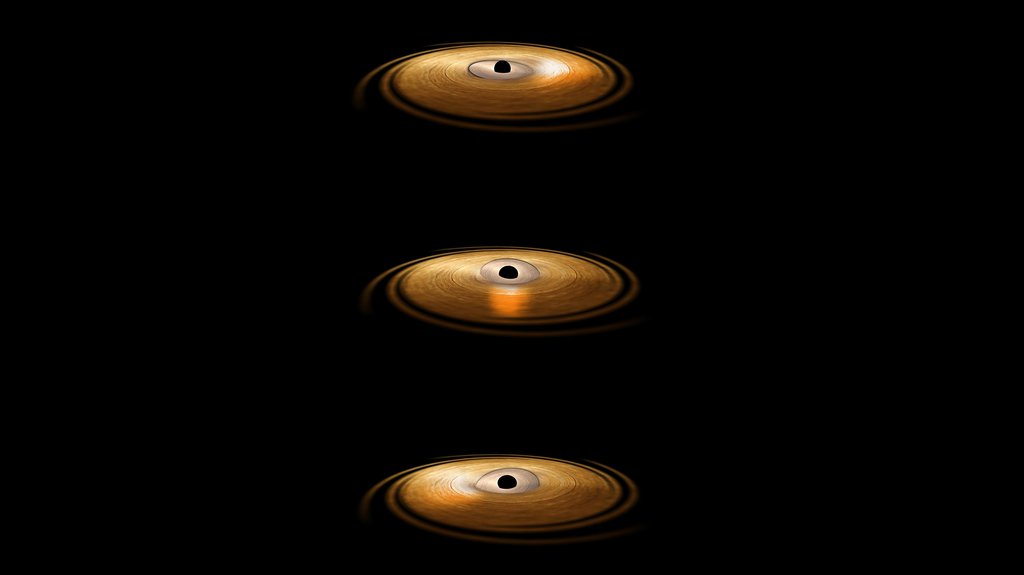 This artist's impression depicts the accretion disc surrounding a black hole, in which the inner region of the disc precesses. 'Precession' means that the orbit of material surrounding the black hole changes orientation around the central object.