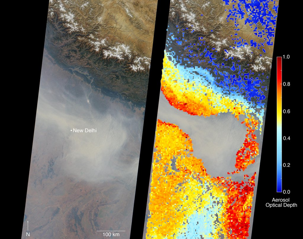 On Nov. 5, 2016, the MISR instrument aboard NASA's Terra satellite passed over New Delhi in the northern portion of the Himalayas, showing thick haze due to extreme air pollution.