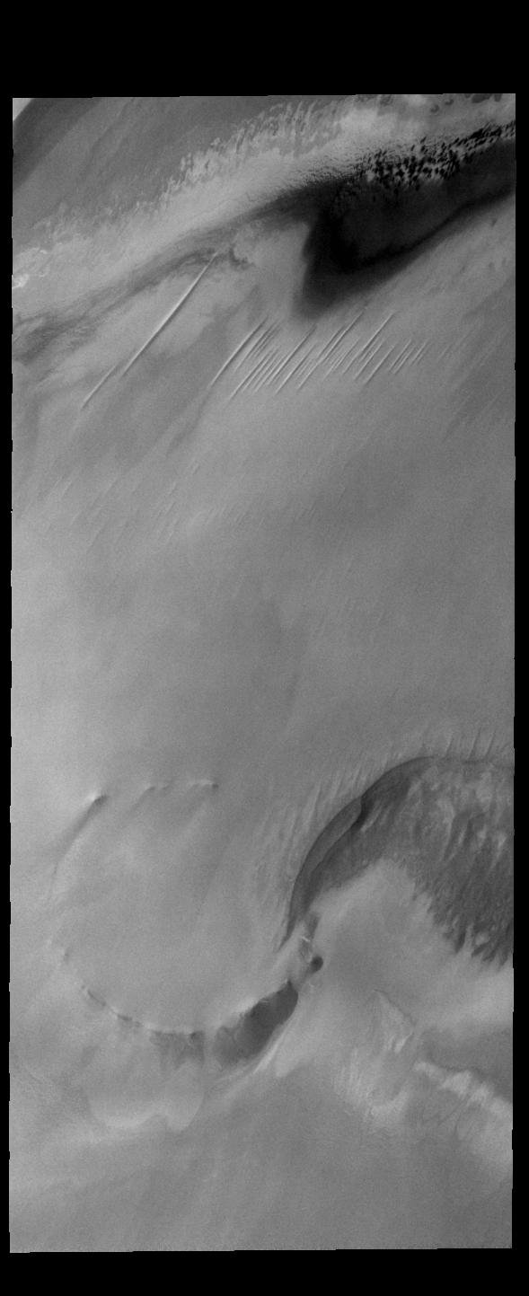 This image captured by NASA's 2001 Mars Odyssey spacecraft shows part of the north polar cap. This image is along the cap margin.